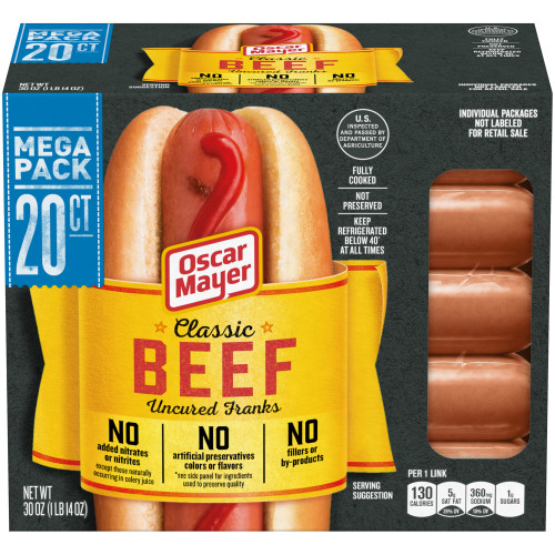 Oscar Mayer Classic Beef Uncured Franks 20 count Pack