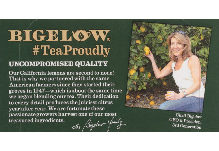 Bigelow Green Tea with Lemon Decaffeinated tea bag in foil overwrap