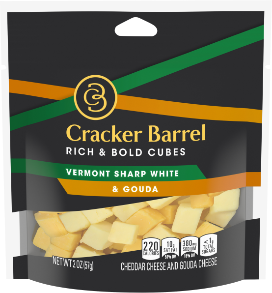Cracker Barrel Cubes, Vermont Sharp White Cheddar & Gouda, 2oz Bag