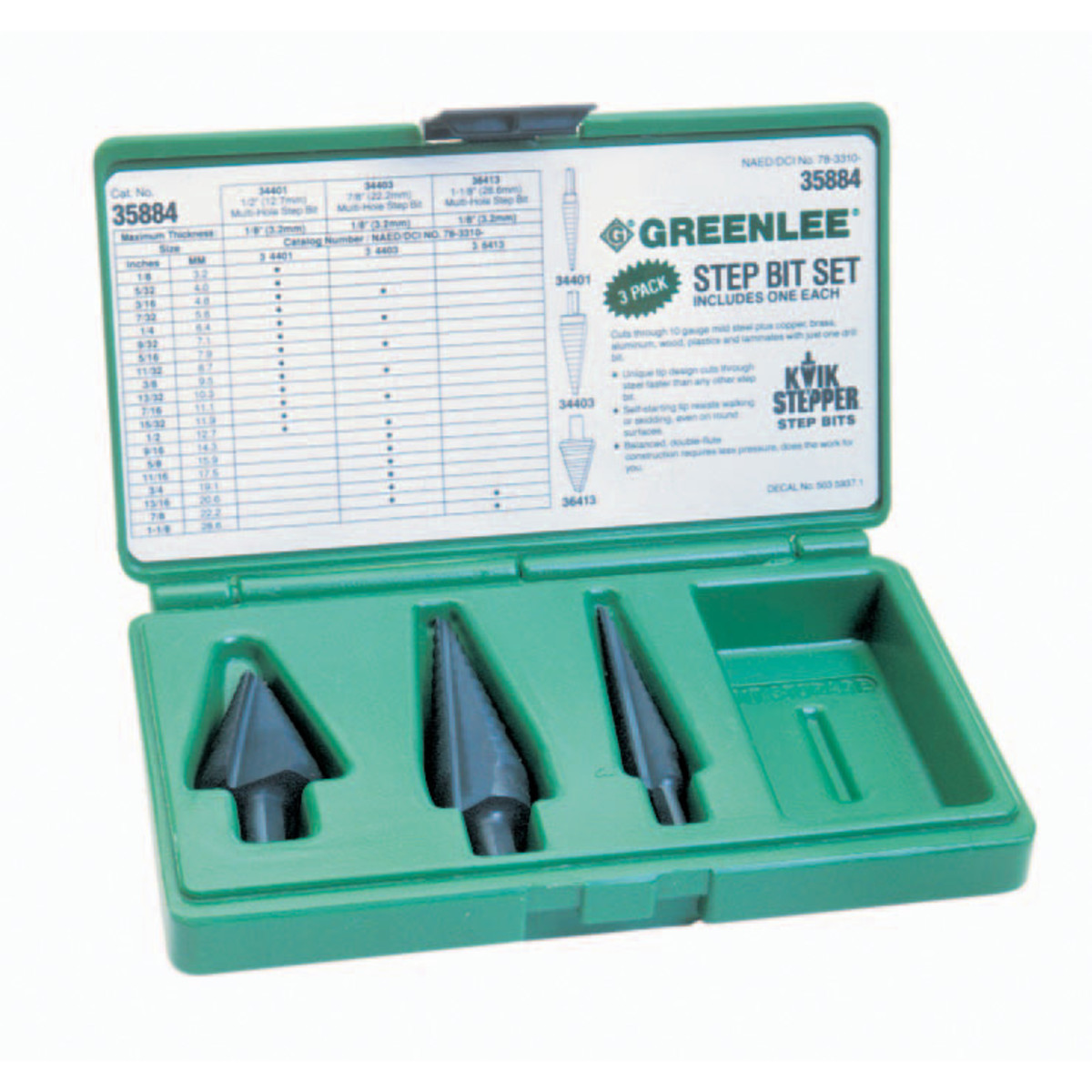Greenlee 35884 Kwik Stepper Multi Hole Step Bit Kit includes #1, #3, #8