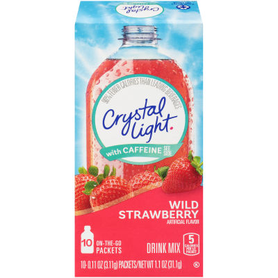 Crystal Light On-The-Go Sugar-Free Wild Strawberry with Caffeine, 10 - 0.11 oz Packets