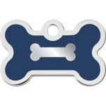 Chrome Bone with Blue Epoxy Small Bone Quick-Tag