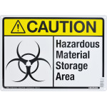 "Aluminum Hazardous Material Storage Area Caution Sign 10"" x 14"""