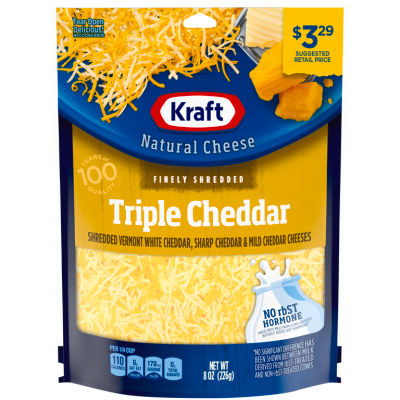 Kraft Triple Cheddar Finely Shredded Natural Cheese 8 oz Pouch