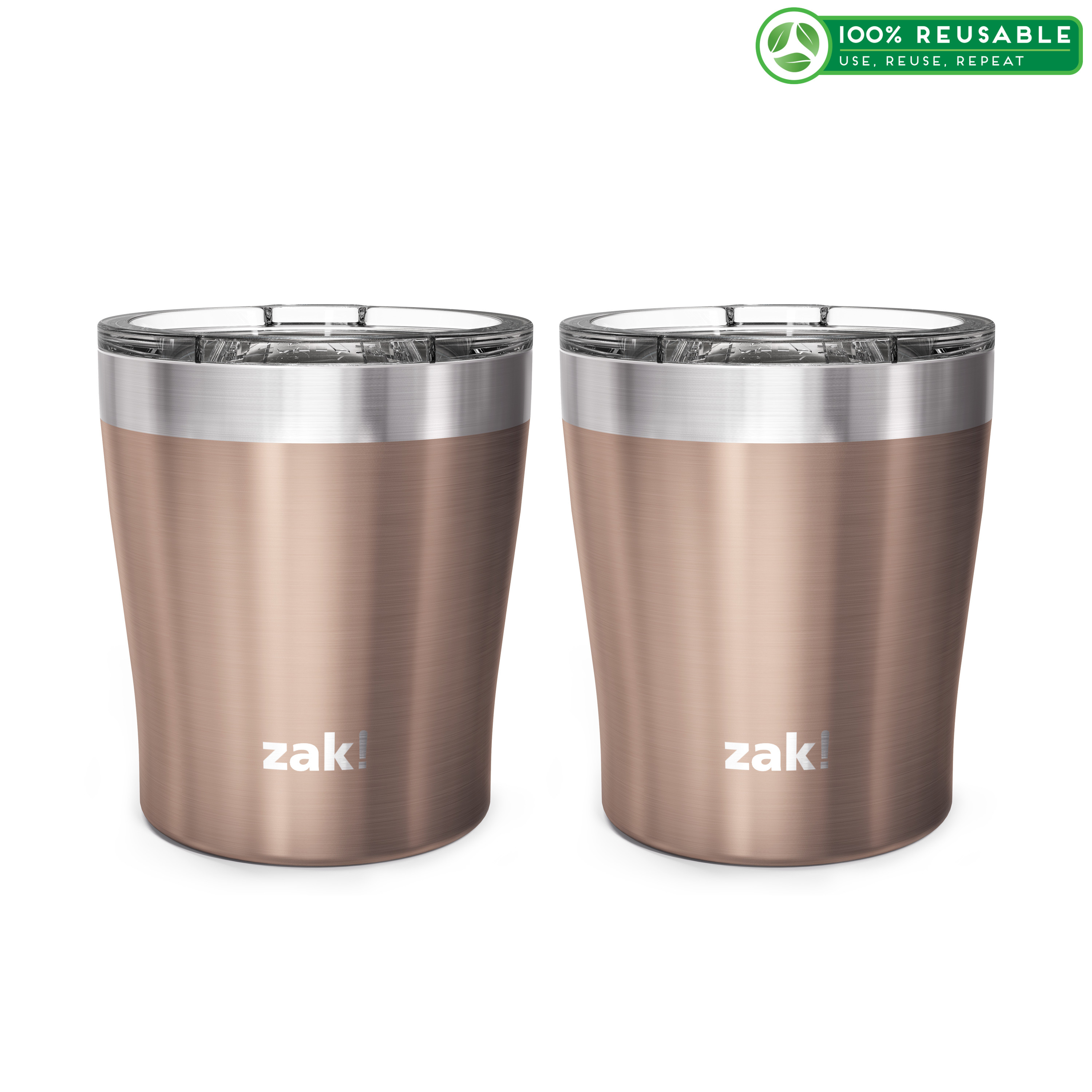Dayton 10 ounce Vacuum Insulated Stainless Steel Tumbler, Rose Gold, 2-piece set slideshow image 1