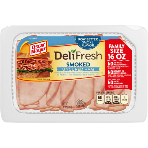 Oscar Mayer Deli Fresh Smoked Uncured Ham, 16 oz Package