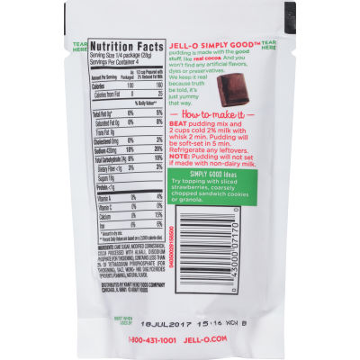 Jell-O Simply Good Chocolate Pudding 3.9 oz Pouch