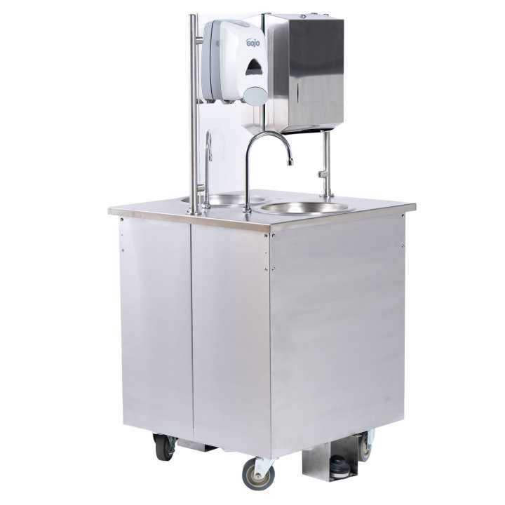 Double sided hand washing station with fresh and grey water portable tanks