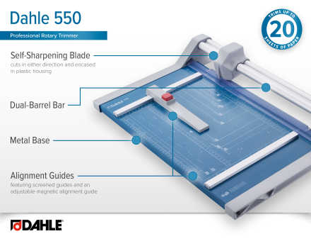 Dahle 550 Professional Rotary Trimmer InfoGraphic