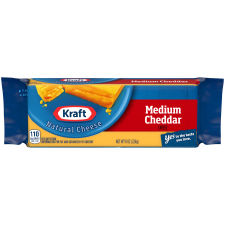 Kraft Medium Cheddar Natural Cheese 8 oz Wrapper