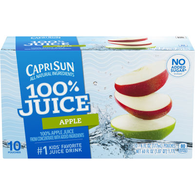Capri Sun 100% Juice Apple Ready-to-Drink Juice Drink 10 - 6 fl oz Pouches