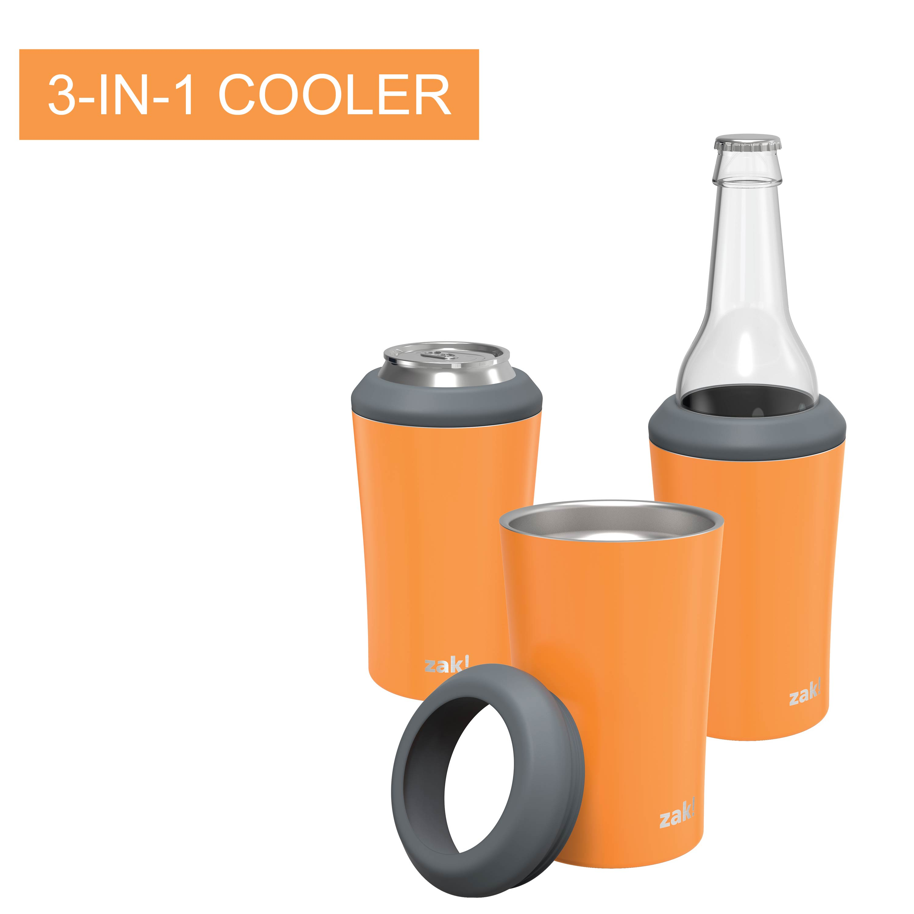 Zak Hydration 12 ounce Double Wall Stainless Steel Can and Bottle Cooler with Vacuum Insulation, Tangerine slideshow image 3