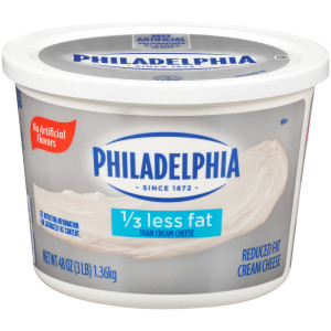 PHILADELPHIA Reduced Fat Cream Cheese Spread, 3 lb. Tub (Pack of 6) image