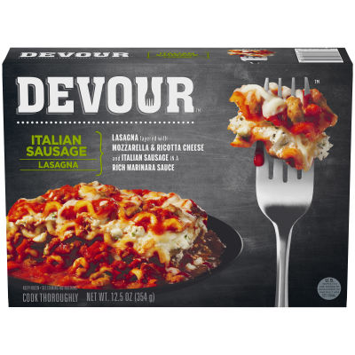 DEVOUR Italian Sausage Lasagna Frozen Meal,12.5 oz Box