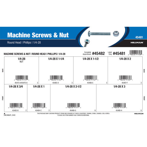 Phillips Round-Head Machine Screws and Nuts Assortment (1/4