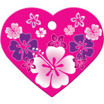 Pink Hawaiian Flowers Large Heart Quick-Tag