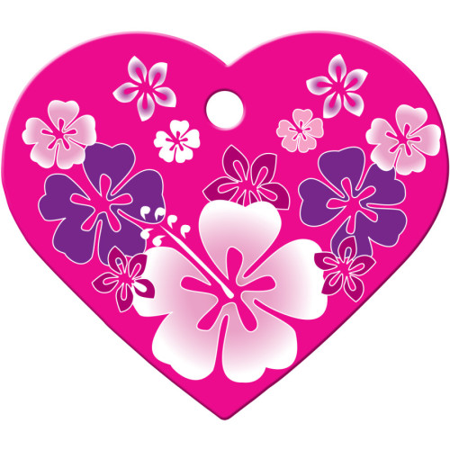 Pink Hawaiian Flowers Large Heart Quick-Tag 5 Pack