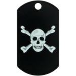 Black with Skull Large Military ID Quick-Tag