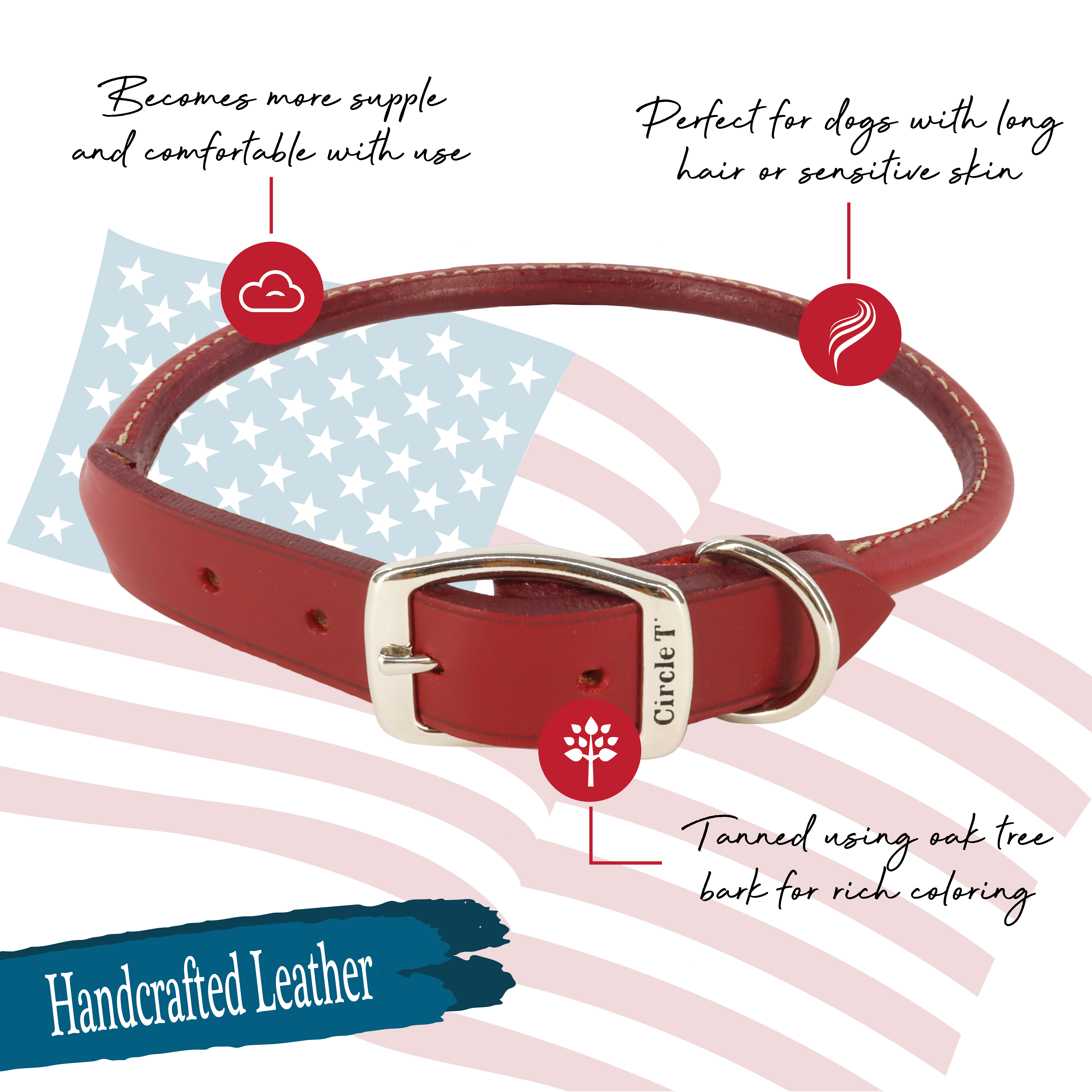 Circle T® Oak Tanned Leather Round Dog Collar