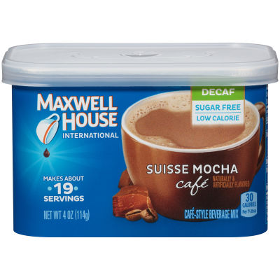 Maxwell House International Sugar-Free, Decaf Suisse Mocha Cafe Beverage Mix, 4 oz Canister