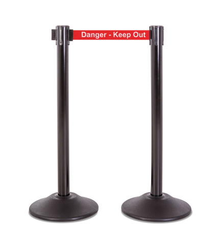 Premium Steel Stanchion - Black with Danger Belt 1