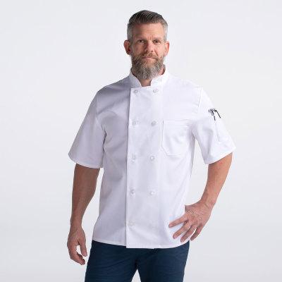 Unisex Classic Short Sleeve Essential Plastic Button Chef Coat-