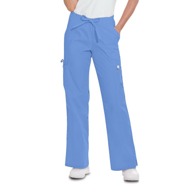Landau Essentials Cargo Scrub Pants for Women: Relaxed Fit, Drawstring / Elastic Waist, 5 Pockets, Straight Leg 8385-Landau