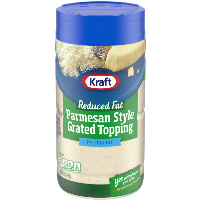 Kraft Reduced Fat Parmesan Style Grated Topping Shaker, 8 oz Jar