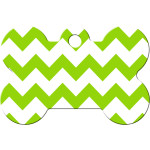 Chevrons Green and White Large Bone Quick-Tag