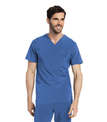 Landau Essentials Scrub Top for Men: Welt Chest Pocket, Modern Fit, V-Neck Medical 4142-