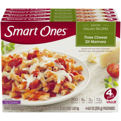 Weight Watchers Smart Ones Savory Italian Recipes Three Cheese Ziti Marinara 4 - 9 oz Boxes