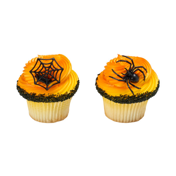 Ghoulish Spider and Web Cupcake Rings