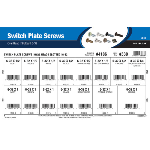 Slotted Oval-Head Switch Plate Screws Assortment (#6-32)