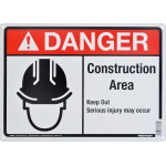 "Aluminum Construction Area Danger Sign 10"" x 14"""