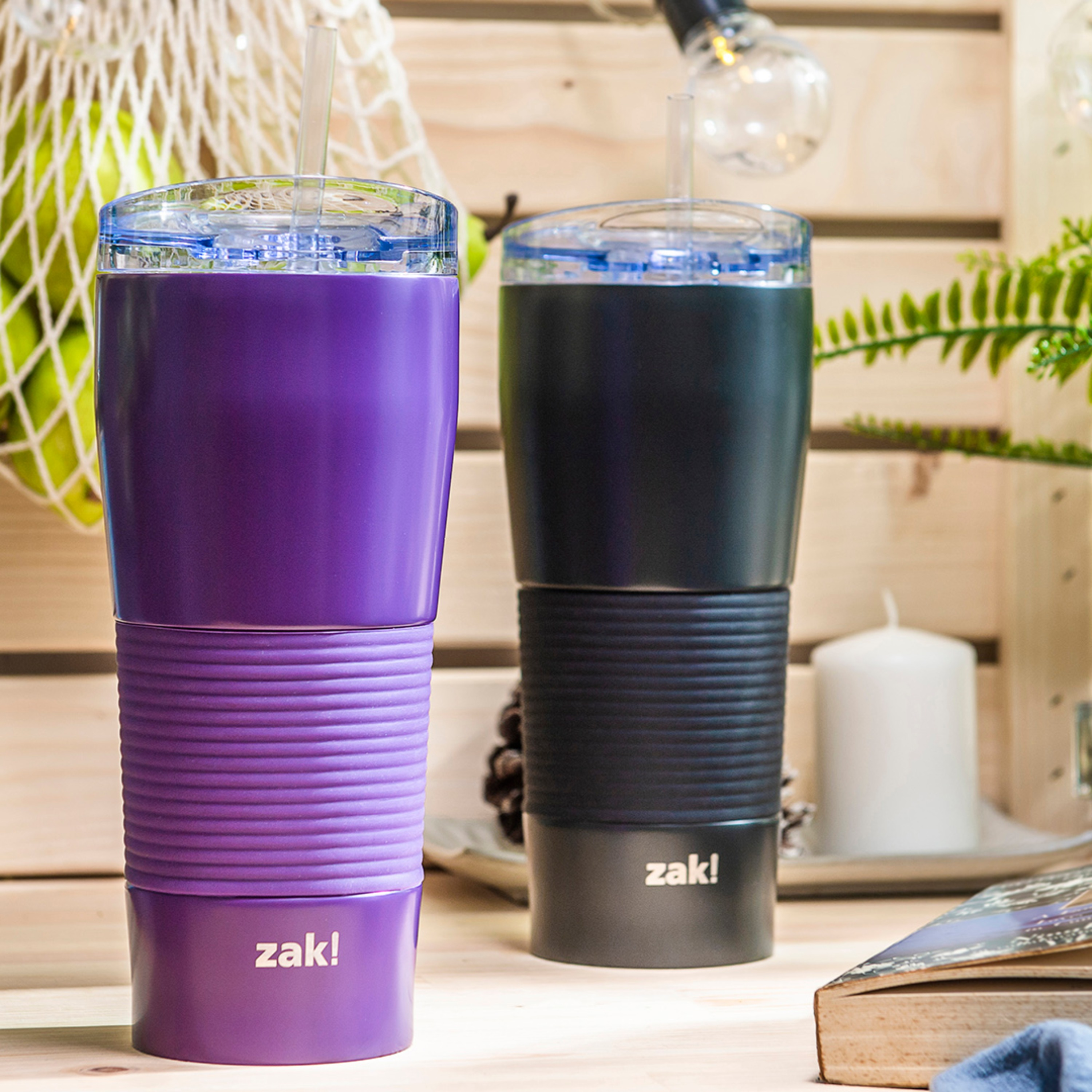 Lynden 28 ounce Stainless Steel Vacuum Insulated Tumbler with Straw, Viola slideshow image 2