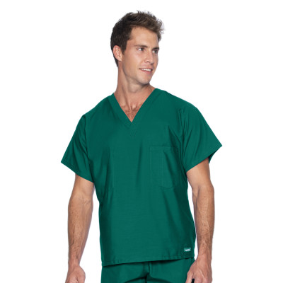 Landau Essentials V-Neck Scrub Top : 1 Pocket, Reversible, Unisex, Classic Relaxed Fit Medical Scrubs 7502-