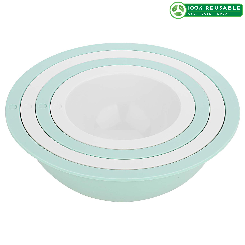 Tilt Mixing Bowls, Mint & White, 4-piece set slideshow image 1