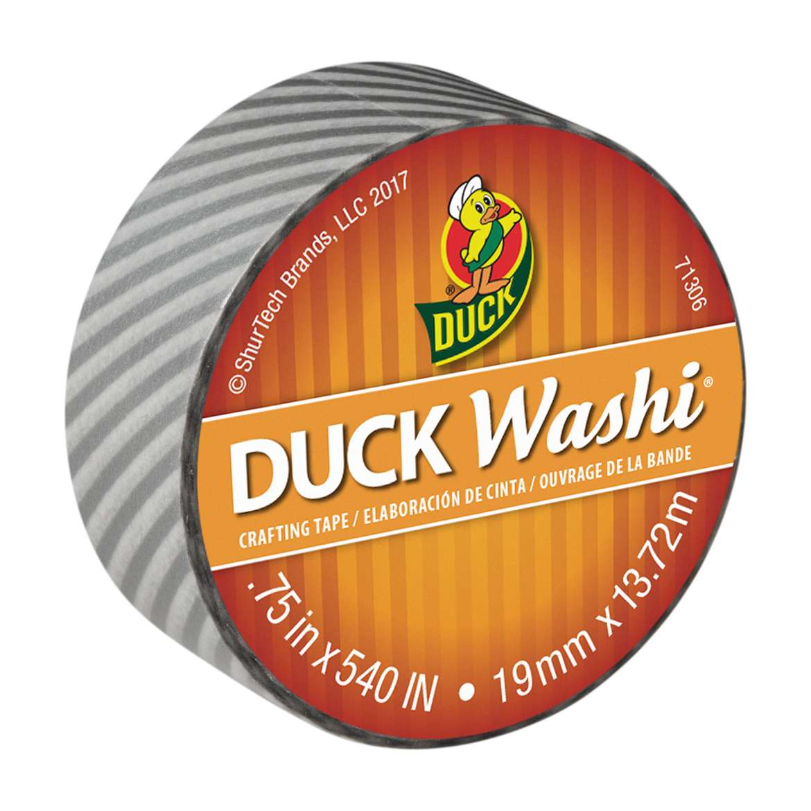 Duck Washi® Crafting Tape - Silver Stripe, 0.75 in. X 15 yd. Image