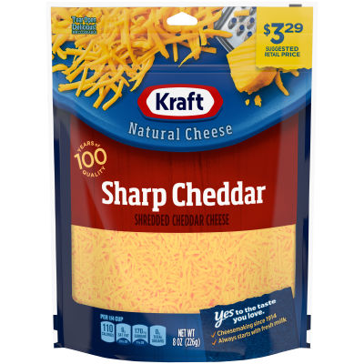Kraft Sharp Cheddar Shredded Natural Cheese 8 oz Pouch