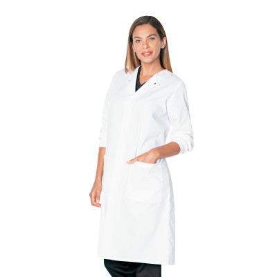 Landau 2 Pocket Unisex Lab Coat for Men and Women -Classic Fit, Crew Neck, Snap Front, Full Length Knit Cuff 3148-Landau