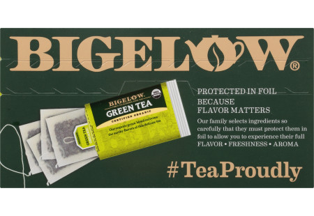 Top of Orgranic Green Tea box of 40 tea bags