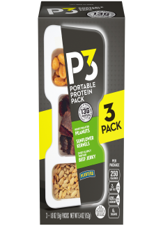 PLANTERS P3 Honey Roasted Peanuts, Sweet & Spicy Teriyaki Beef Jerky, Sunflower Kernels 3-1.8 oz Packs