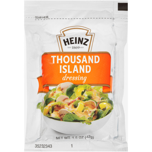 HEINZ Single Serve 1000 Island Salad Dressing, 1.5 oz. Packets (Pack of 60)