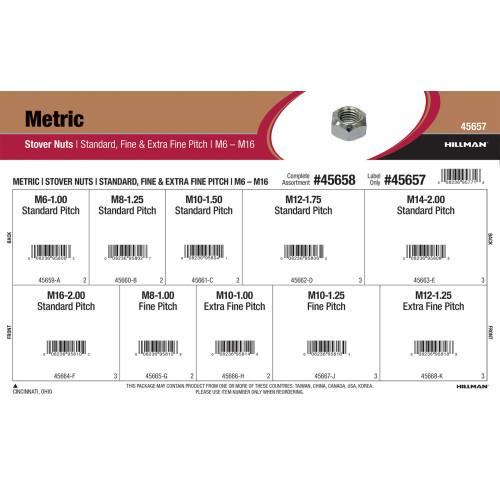 Metric Stover Lock Nuts Assortment (M6 thru M16 Dia.)