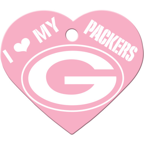 Green Bay Packers Pink Large Heart Quick-Tag 5 Pack