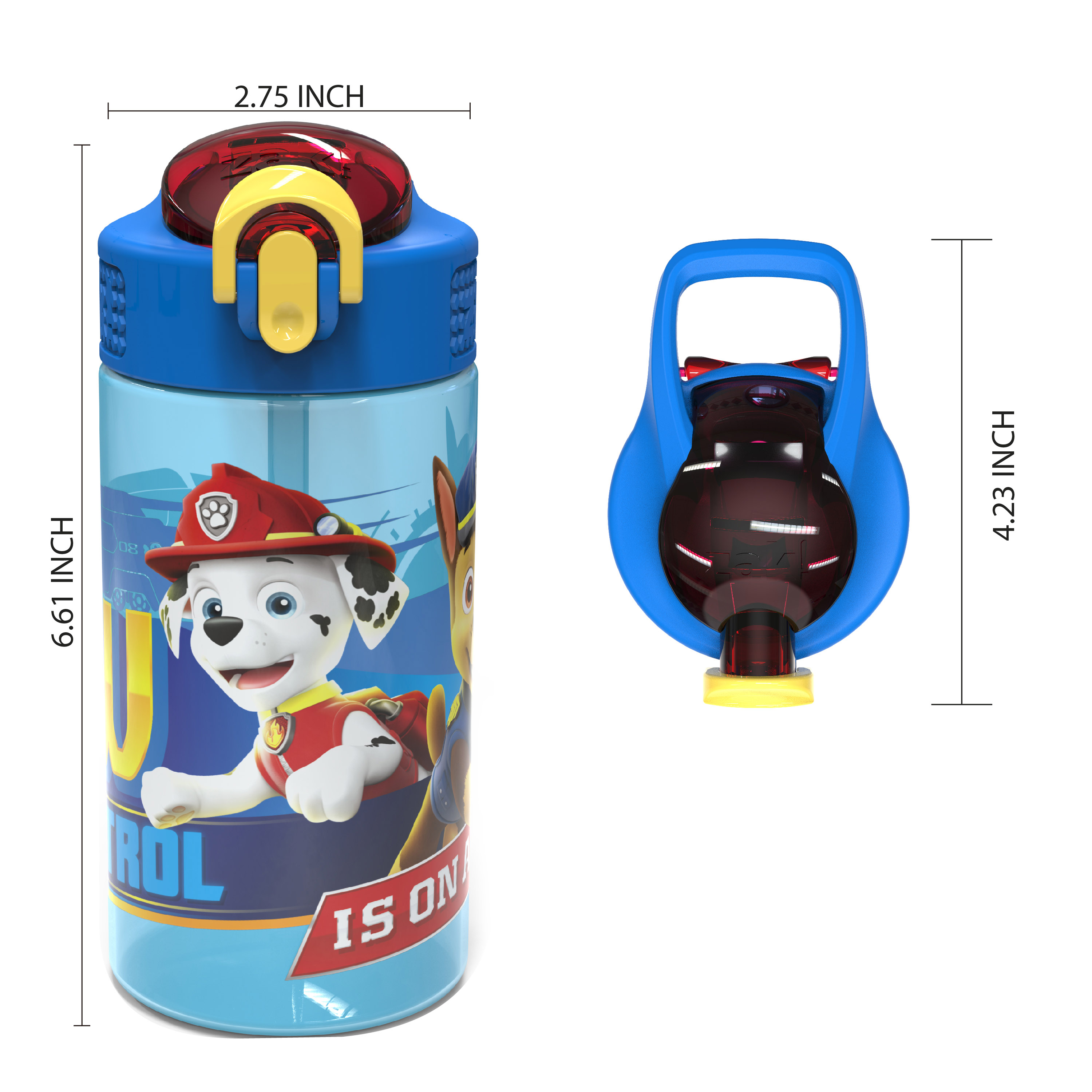 Paw Patrol 16 ounce Reusable Plastic Water Bottle with Straw, Marshall, 2-piece set slideshow image 8