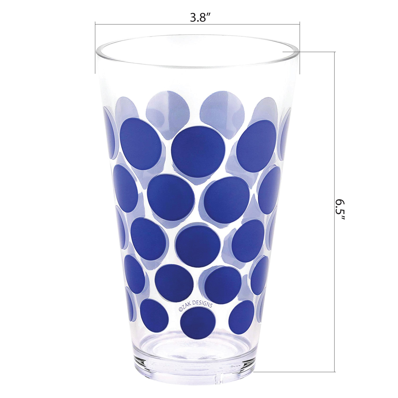 Dot Dot 20 ounce Highball Glass, Blue, 6-piece set slideshow image 11