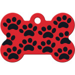 Red with Black Paws Large Bone Quick-Tag
