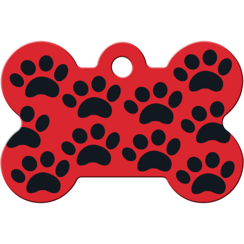 Red with Black Paws Large Bone Quick-Tag 5 Pack