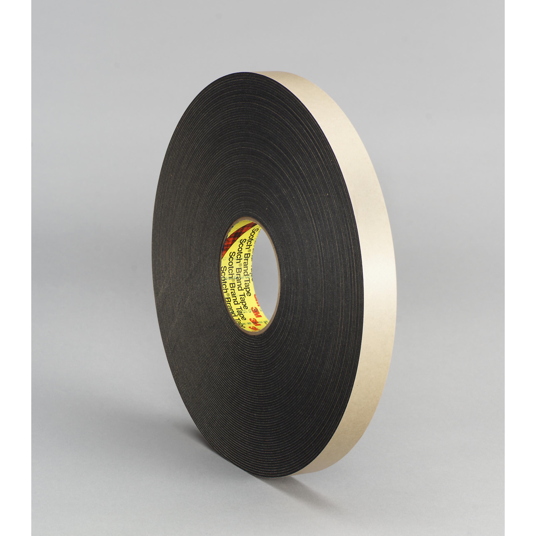3M™ Double Coated Polyethylene Foam Tape 4496B, Black, 1 in x 36 yd, 62 mil, 9 rolls per case